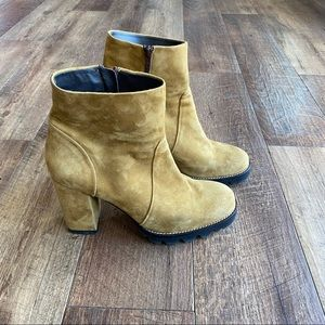 Minelli yellow suede chunky heel boots sz 41/ 10.5